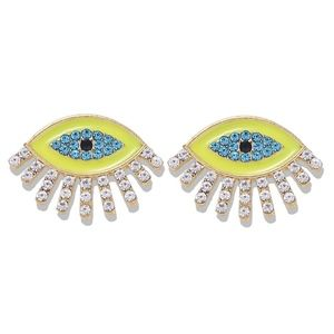 Gold-tone plated evil eye stud earrings yellow